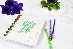 Happy Planner with the words hello life